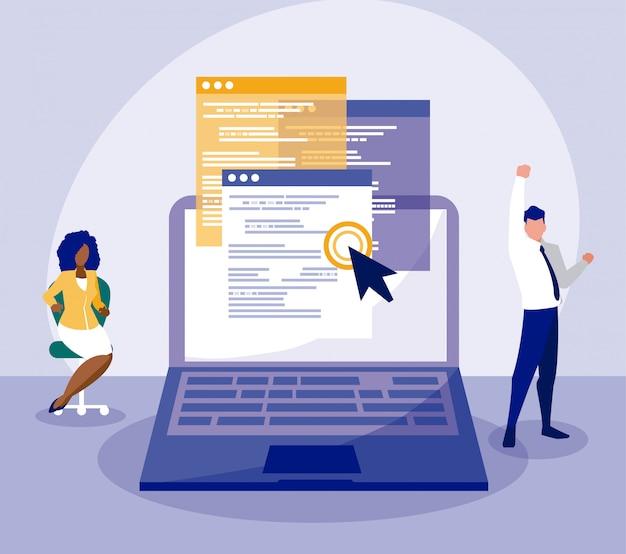 Empresário e empresária avatar com design de vetor de laptop