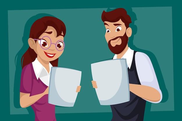 Empresário e empresária com design de papéis de documentos, gestão de empresários e tema corporativo.