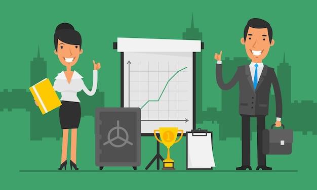 Empresário e empresária de conceito de negócio mostram os polegares. ilustração vetorial. definir objetos.