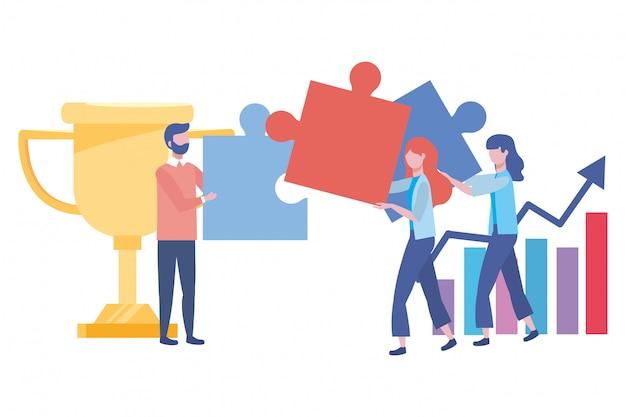 Empresário e empresária design ilustração vetorial