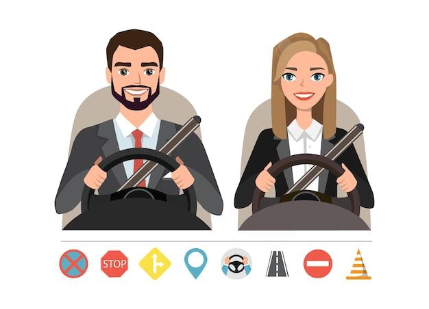 Empresário e empresária dirigindo um carro. silhueta de uma mulher e um homem sentado ao volante. conjunto de símbolos de estradas