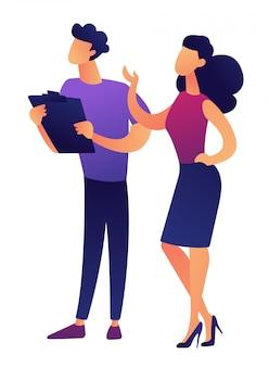 Empresário e empresária discutindo ilustração vetorial de projeto.