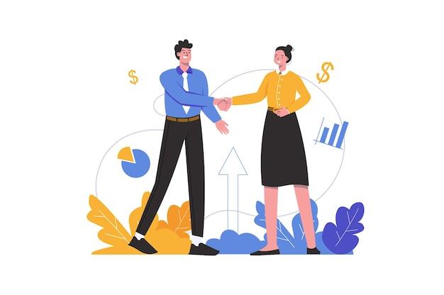 Empresário e empresária fazem negócios. homem e mulher apertam as mãos, cena de pessoas isolada. conceito de cooperação, parceria e investimento. ilustração vetorial em design plano minimalista