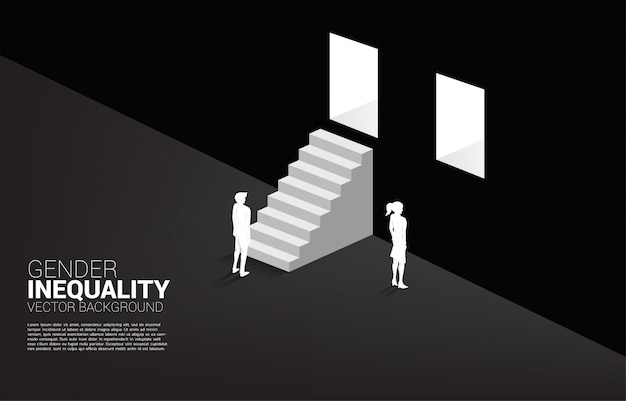 Empresário e empresária na parede e o único homem com a escada para porta de saída.