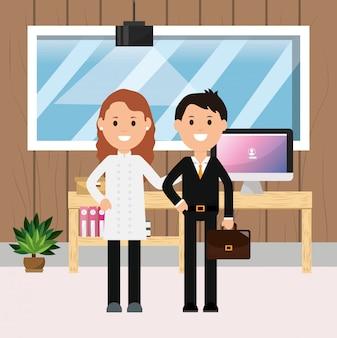 Empresário e feminino médico escritório espaço de trabalho mesa computador janela ilustração