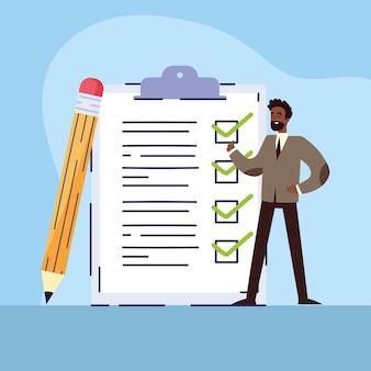 Empresário e lista de verificação