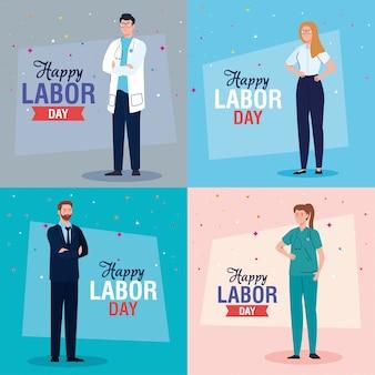 Empresário e médico homens empresária e médico mulheres