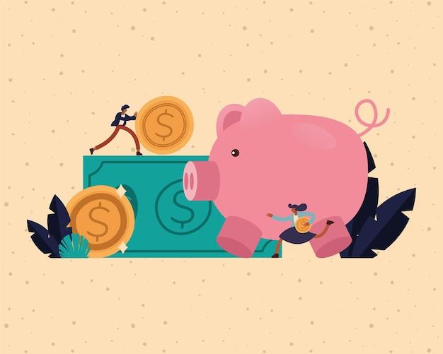 Empresário e mulher de negócios com notas de moedas e design de porquinho, gestão de empresários e ilustração de tema corporativo