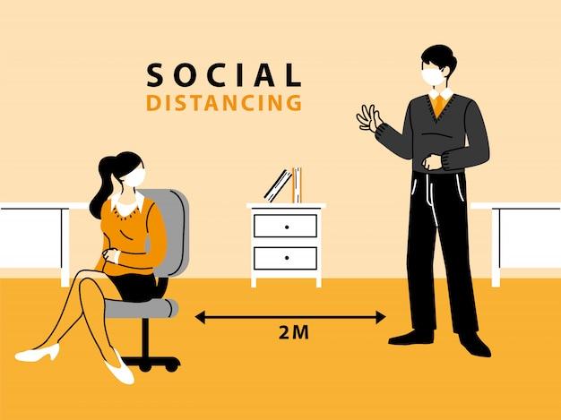 Empresário e mulher usam máscaras e mantêm distância no escritório