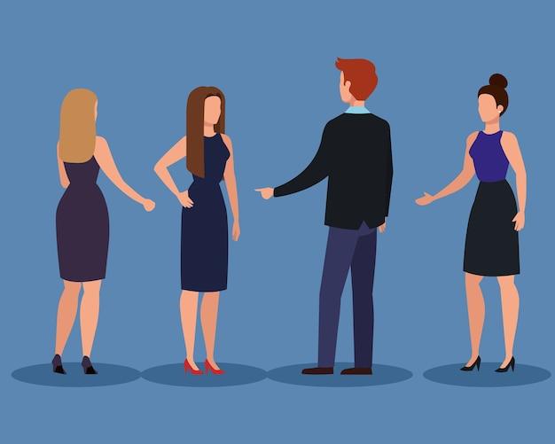 Empresário e mulheres de negócios, homem, mulher, gestão de negócios, ocupação, trabalho corporativo, e, trabalhador, tema, ilustração