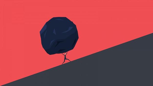 Empresário e pedra enorme. conceito de dificuldade e carga da crise do problema de negócios