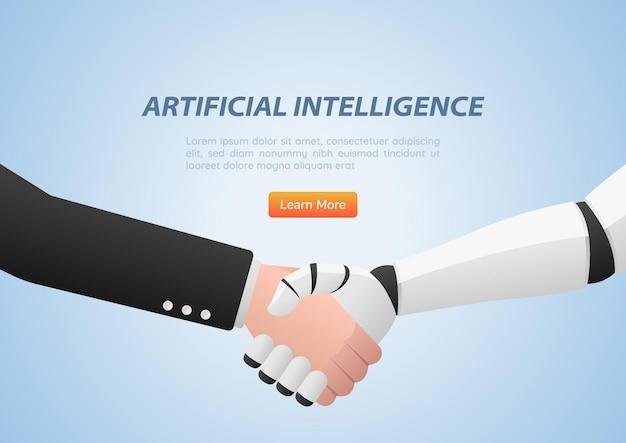 Empresário e robô apertando as mãos. conceito de inteligência artificial e trabalho em equipe.