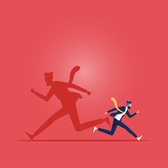 Empresário e sua sombra para correr em diferentes direções