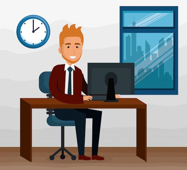 Empresário elegante na cena do escritório