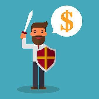 Empresário em atacar segurando uma espada e escudo