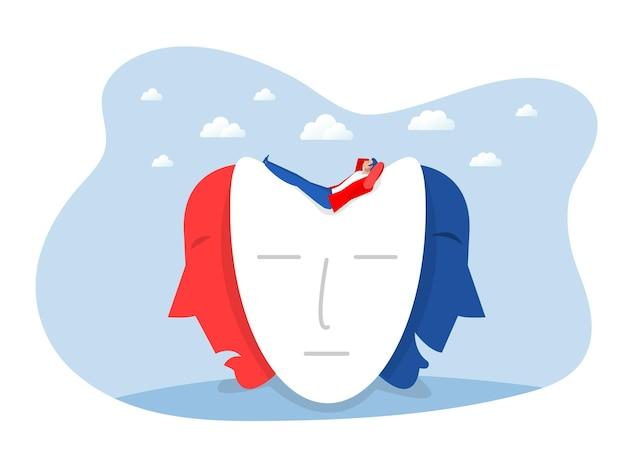 Empresário em busca de máscaras de identidade com expressões felizes ou tristes, personalidade dividida, alterações de humor, transtorno bipolar, ilustração vetorial.