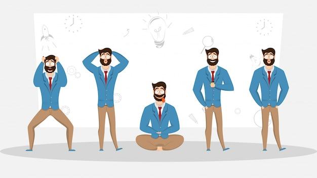 Empresário em diferentes emoções e expressões.