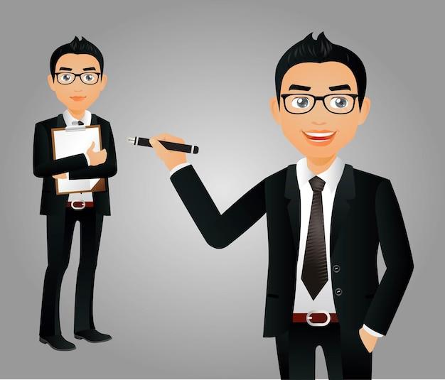 Empresário em diferentes posições