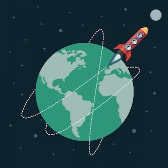 Empresário em foguete de lápis ir para a lua.
