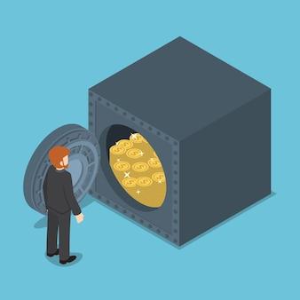 Empresário em frente ao seguro cheio de dinheiro, riqueza e o conceito de economia de dinheiro.