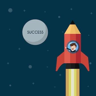 Empresário em lançamento de foguete de lápis para o sucesso da lua