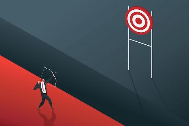 Empresário em pé à procura de objetivo de oportunidades.