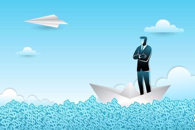 Empresário em pé no barquinho de papel no mar de dólar