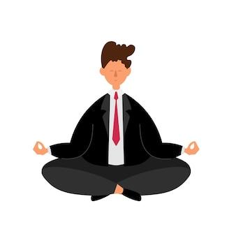 Empresário em pose de ioga. empresário em meditação do estado zen. exercício de relaxamento do escritório para o conceito de controle do estresse da saúde humana. ilustração