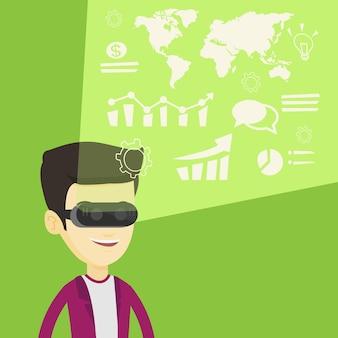 Empresário em vr auricular analisando dados virtuais