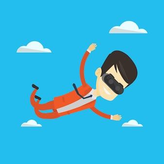 Empresário em vr auricular voando no céu.