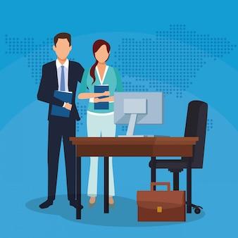 Empresário empresária escritório mesa computador mala sucesso iniciar ilustração vetorial de negócios