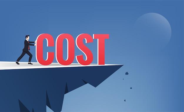 Empresário empurra a palavra custo do topo da colina. corte de custos ou ilustração de redução