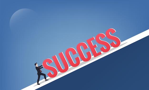 Empresário empurra o sucesso da palavra até o conceito de colina. ilustração do símbolo de negócios.