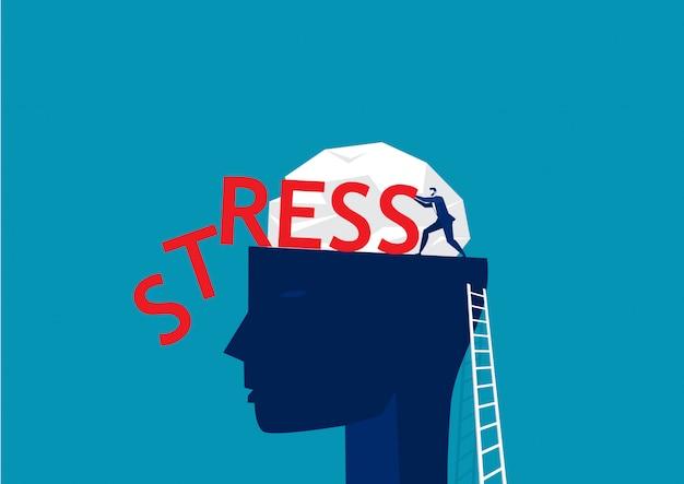 Empresário, empurrando a palavra estresse na ilustração do conceito de pensamento humano de cabeça grande