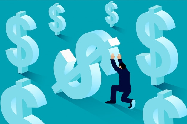 Empresário empurrando dinheiro dólar até