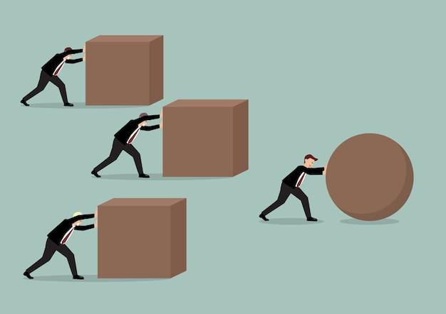 Empresário, empurrando uma esfera liderando a corrida contra um grupo de empresários