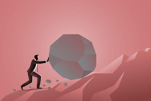 Empresário empurrando uma grande pedra em direção ao pico, simbolizando a luta pelo sucesso