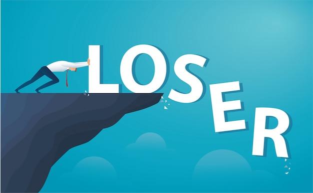 Empresário empurre o perdedor de palavra do topo da colina