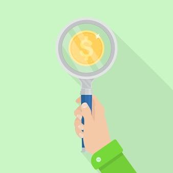 Empresário encontra o melhor preço de oferta pela lupa. pesquisa, verificação de moeda