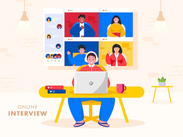 Empresário entrevistando on-line para pessoas de laptop para vaga de emprego, junte-se a nossa equipe. evite o coronavírus.