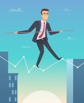Empresário, equilibrando em uma ilustração gráfica