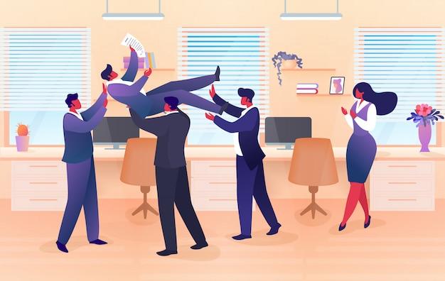 Empresário, equipe, jogando no ar colega, sucesso