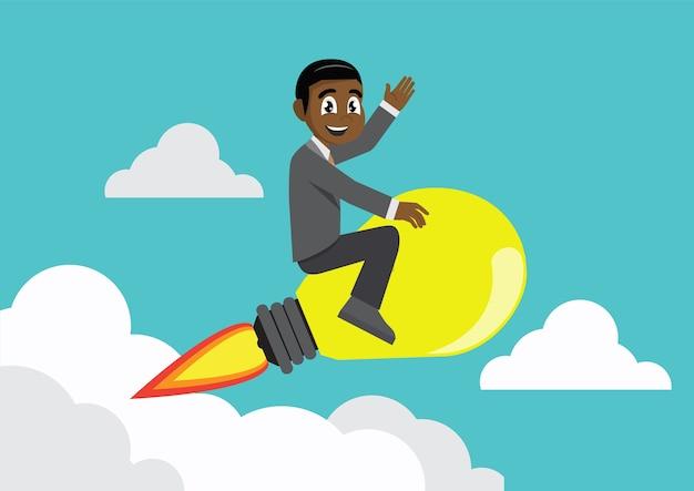 Empresário equitação idéia lâmpada voando pelo céu.