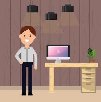 Empresário escritório mesa computador planta e lâmpadas ilustração