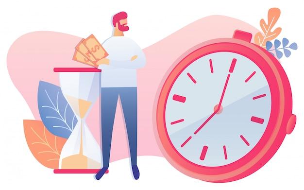 Empresário espera dinheiro na mão, olhar para o relógio