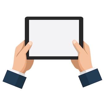 Empresário espera tablet com tela branca vazia