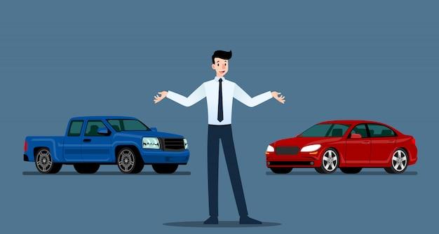 Empresário está apresentando seu carro de luxo e caminhonete.