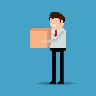 Empresário está carregando uma caixa