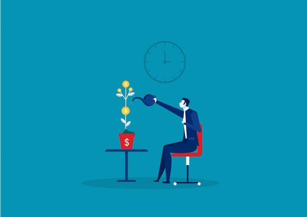 Empresário está molhando uma panela com uma crescente ideia de negócio