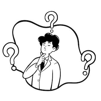 Empresário está pensando ilustração vetorial mão desenhada